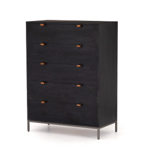 Trey 5 Drawer Dresser - Black Wash Poplar