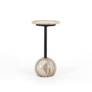 Venice Accent Table-Antique White Marble
