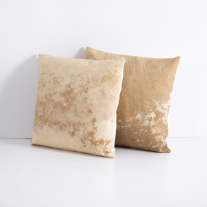 Calabra Modern Hide Pillow, Tan, Set