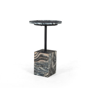 Foley Accent Table-Black Dune Marble