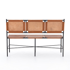 Zeke Accent Bench - Caramel Leather