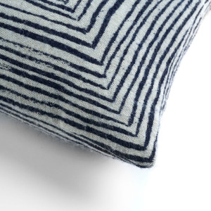 White Linear Square Pillow - Square