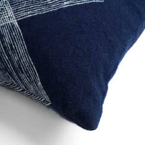 Navy Linear Diamonds Pillow - Lumbar