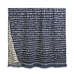 Mystic Ink Navy Dots Throw Blanket