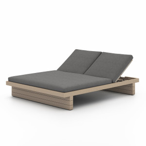 Royce Teak Double Chaise - Washed Brown