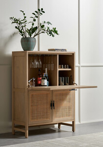 Bondi Cane Bar Cabinet - Natural Mango
