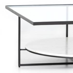 Glorya Coffee Table - Polished White Marble