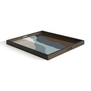 Graphite Wabi Sabi glass tray - Rectangular