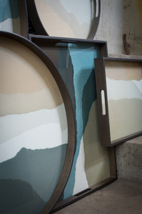 Sand Wabi Sabi glass tray - Rectangular