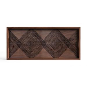 Walnut Linear Squares glass tray - Rectangular