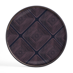 Midnight Linear Squares glass tray