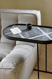 Slate Linear Squares oblong glass tray