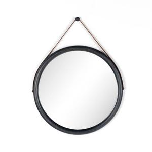 Round Poplar Wood w/leather  Mirror