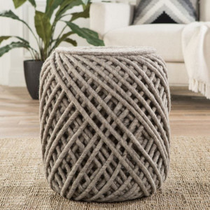 Nautica Wool Pouf - Light Gray