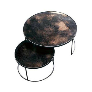 Round Nesting Coffee Tables Vintage Mirror & Metal
