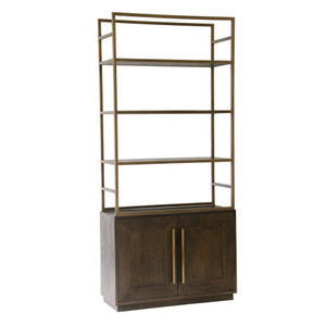 Elliot Oak Bookshelf with Antique Brass