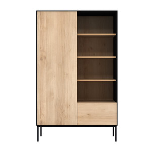 Azura Light Oak and Black Tall Storage Cabinet