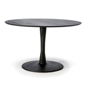 Oak Torsion Round Dining Table - Black