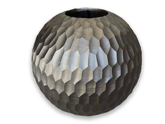 Black Mango Wood Collection - Honey Comb Large Round Center Piece