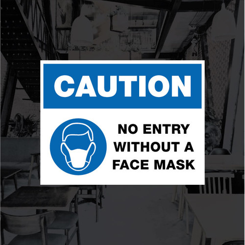 No Entry Without A Face Mask Vinyl Decal - 12 x 9