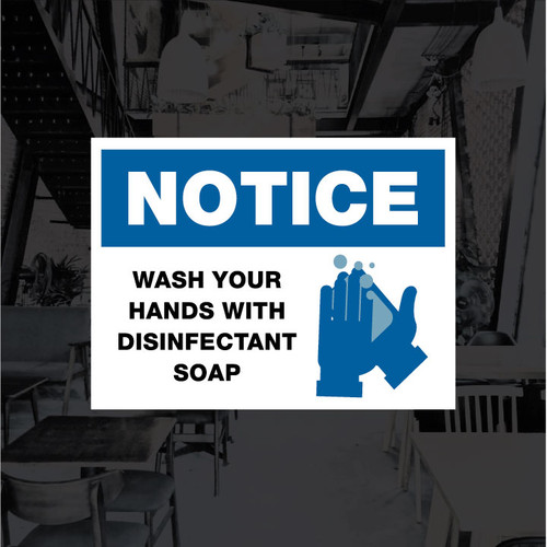 Wash Hands w/ Disinfectant Soap Vinyl Decal - 12 x 9