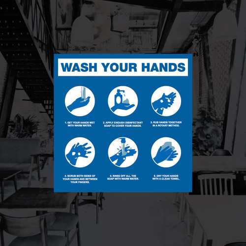 Wash Hands Steps Vinyl Decal - 8 x 8