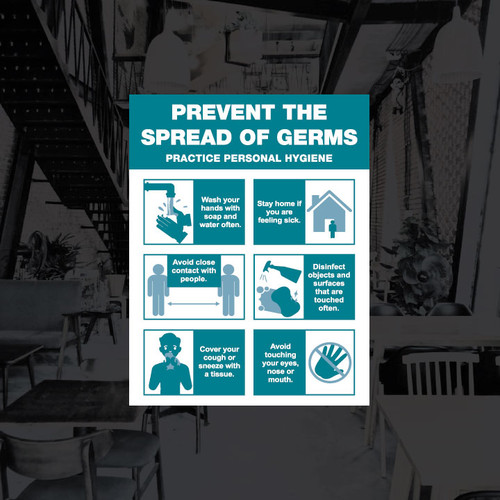 Prevent The Spread of Germs Vinyl Decal - 8.5 x 11