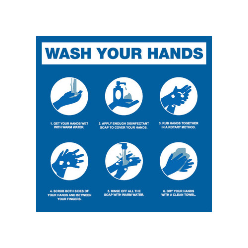 Wash Hands Steps - 8 x 8 Poster Sign
