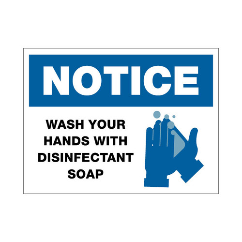 Wash Hands w/ Disinfectant Soap - 12 x 9 Poster Sign