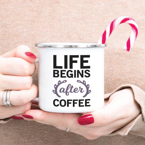 Life Begins After Coffee Campfire Mug