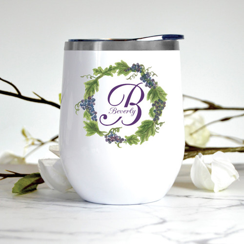 Custom Grape Wreath Monogram Wine Tumbler
