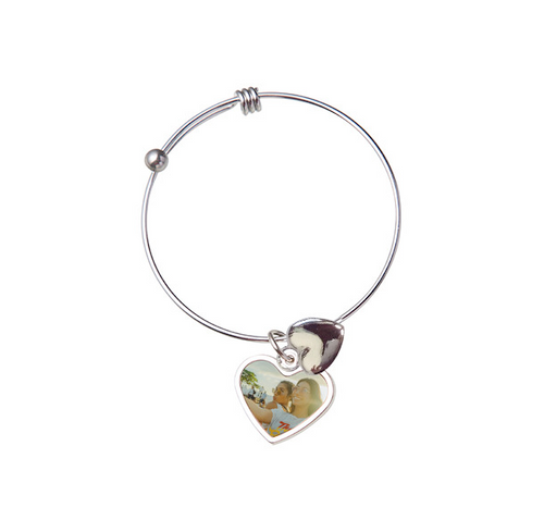 Adjustable Heart Photo Bracelet