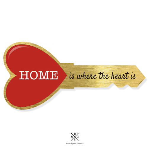 """Heart Key Sign Cutout Gold - """"Home Is Where The Heart Is"""""""