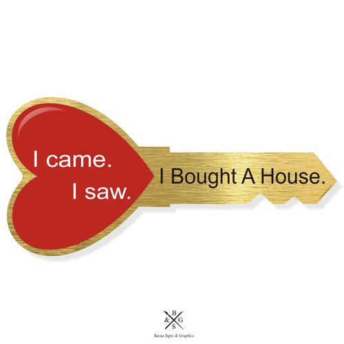 """Heart Key Sign Cutout Gold - """"I Came I Saw I Bought A House"""""""