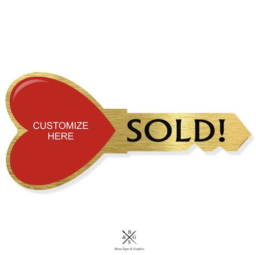 "Heart Key Sign Cutout Gold - Customizable ""SOLD"""