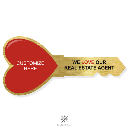 """Heart Key Sign Cutout Gold - Customizable """"We Love Our Real Estate Agent"""""""