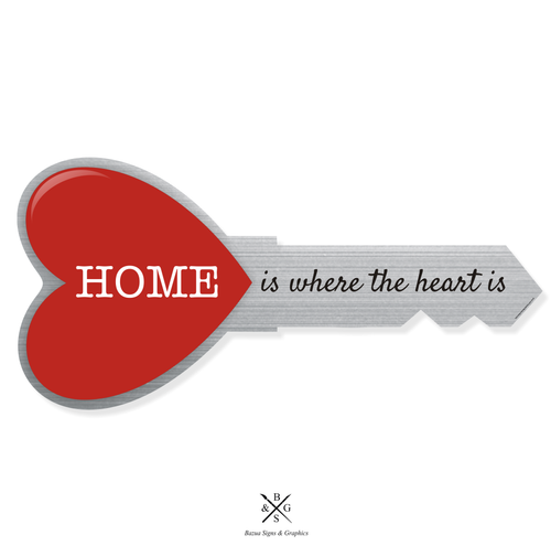 """Heart Key Sign Cutout Silver - """"Home Is Where The Heart Is"""""""