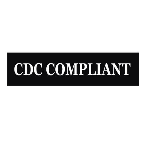 """""""CDC Compliant"""" Sign Rider - White On Black"""
