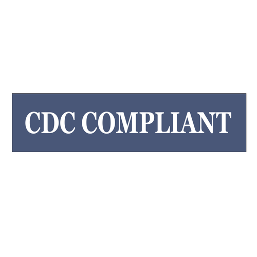 """""""CDC Compliant"""" Sign Rider - White On Navy"""