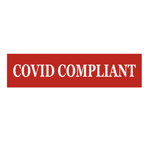 """""""Covid Compliant"""" Sign Rider - White On Red"""