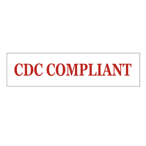 """""""CDC Compliant"""" Sign Rider - Red On White"""