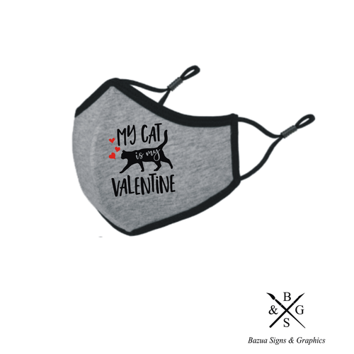 My Cat Is My Valentine Reversible 3D Face Mask - Heather Grey