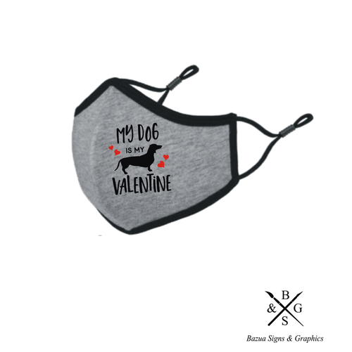 My Dog Is My Valentine Reversible 3D Face Mask - Heather Grey