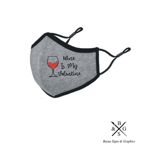 My Wine Is My Valentine Reversible 3D Face Mask - Heather Grey