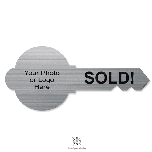 """Key Sign Cutout Silver Customizable """"SOLD"""""""