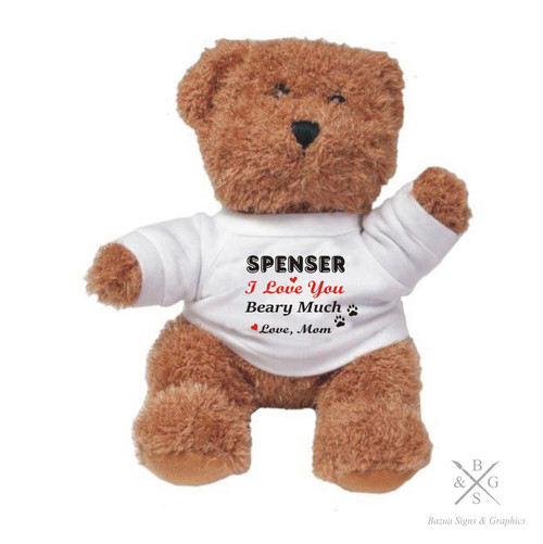 """Plush Bear  """"I Love You Beary Much"""" Personalized"""