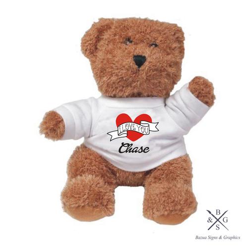"Plush Bear  ""I Love You"" Personalized"