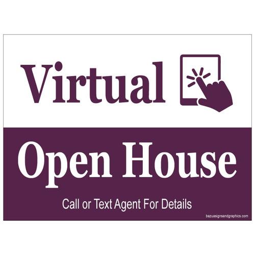 Virtual Open House Sign - White/Cabernet Split