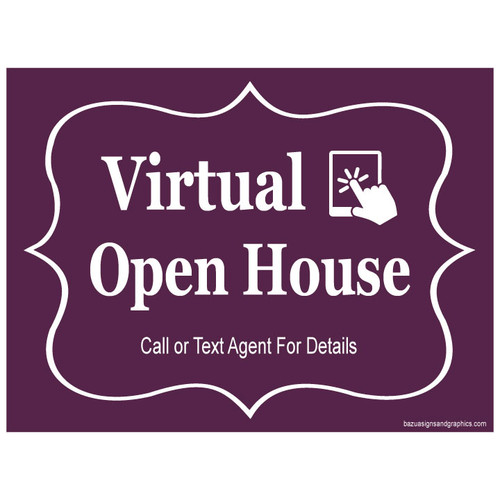 Virtual Open House Sign - White On Cabernet
