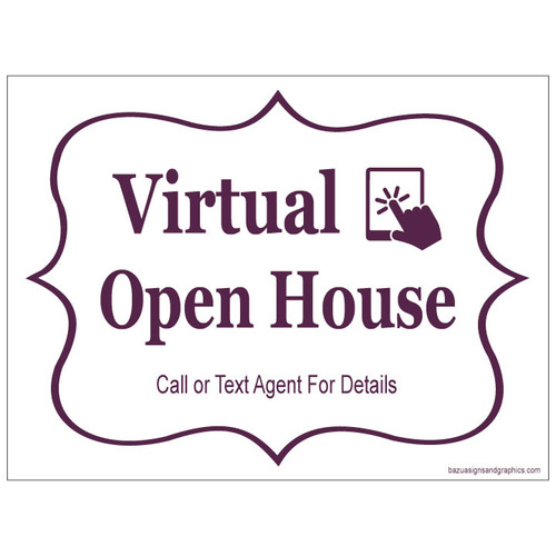 Virtual Open House Sign - Cabernet On White